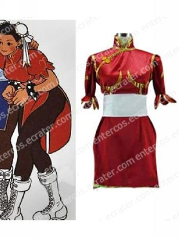 Street Fighter Chun-Li Red Cosplay Costume   any size