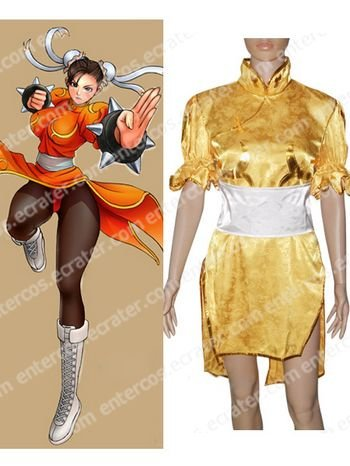 Street Fighter Chun-Li Yellow Cosplay Costume any size
