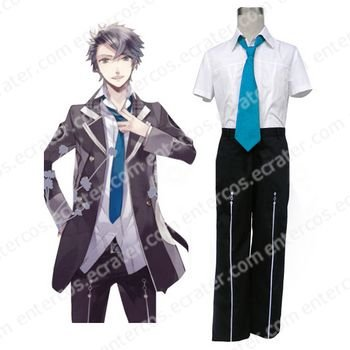 Short Sleeves Blue Tie Starry�Sky Seigatsu Academy Male Summer Uniform Cosplay Costume  any size
