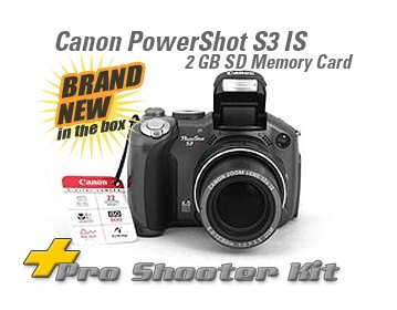 CANON POWERSHOT S3IS +2 GIG CARD 2 LENSES & MORE! S3 IS