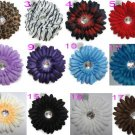 12- 4 Inch Gerbera Flowers with Rhinestone Centers on Clip