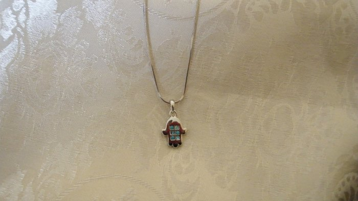 """Necklace With Small Blue """"Hamsah"""""""