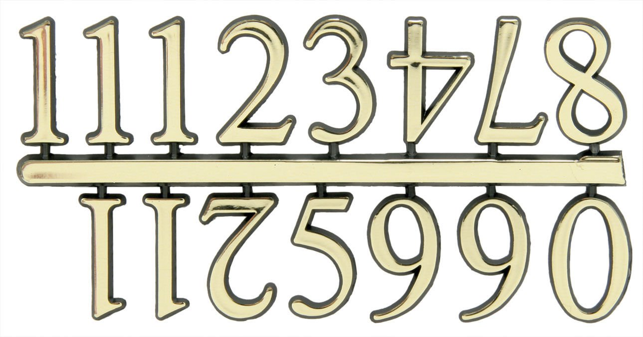 """1"""" Classic Gold Clock or Craft Numerals -Numbers 1-12 - NC112-01"""