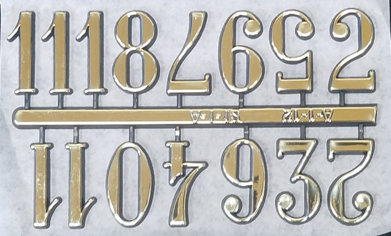 """1-1/4"""" Arabic Gold Clock or Craft Numerals -Numbers 1-12 - NA112-114"""