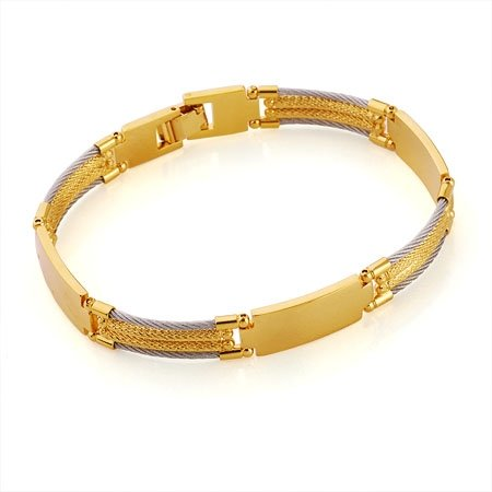 Gold Men's Bracelet Grey