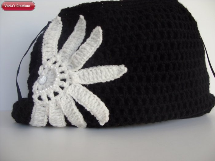 Black White Flower Handbag