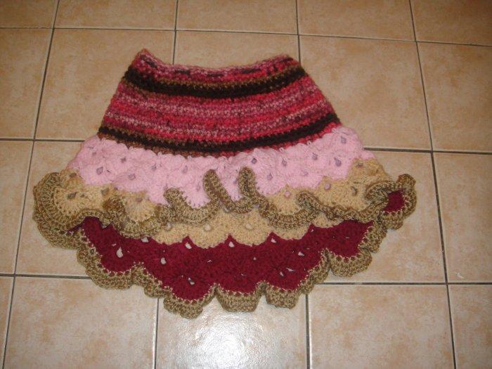 Crochet pink girl skirt