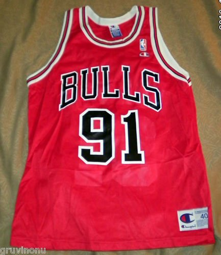 Dennis Rodman #91 Chicago Bulls Champion Jersey 40 NEW