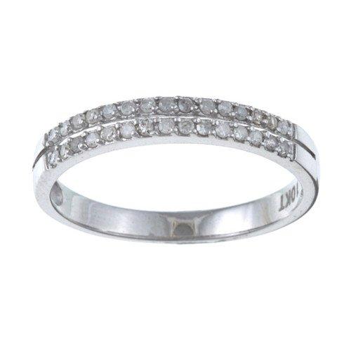 White Gold 1/4 TDW TwoRow Pave Diamond Ring (GH, I1-I2)