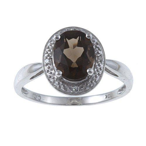 10k White Gold Oval Smokey Topaz and Diamond Ring