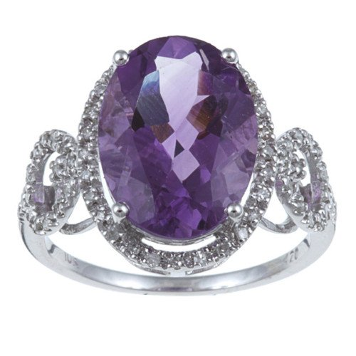 10k White Gold Bold Amethyst and Diamond Ring (1/5 TDW)