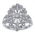 10k White Gold 2/5 TDW Vintage Style Diamond Ring