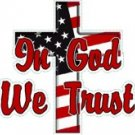 In God We Trust Flag / Cross Decal