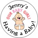 """108 Baby Shower  """"Our Baby Girl""""  Hershey's Chocolate Personalized Kiss Labels Party Favors #09"""