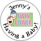 "108 Baby Shower  ""Twin Power"" Hershey's Chocolate Personalized Kiss Labels Party Favors #11"