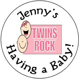 """108 Baby Shower  """"Twins Rock"""" Hershey's Chocolate Personalized Kiss Labels Party Favors #13"""