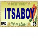 30 KENTUCKY License Plate BOY Baby Shower Candy Bar Wrappers Hershey's Nugget Labels Party Favors