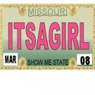 30 MISSOURI  License Plate GIRL Baby Shower Candy Bar Wrappers Hershey's Nugget Labels Party Favors