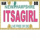 30 NEW HAMPSHIRE License Plate GIRL Baby Shower Candy Bar Wrappers Nugget Labels Party Favors