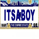 30 NEW YORK License Plate BOY Baby Shower Candy Bar Wrappers Hershey's Nugget Labels Party Favors