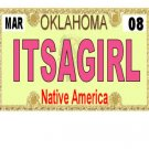 30 OKLAHOMA  License Plate GIRL Baby Shower Candy Bar Wrappers Hershey's Nugget Labels Party Favors