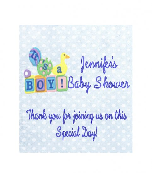 16 Baby Boy Shower  Lip Balm Chap Stick Wrapper party favor label Personalized