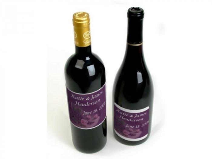 Wedding Wine Bottle labels Purple Reception Party Favors 60 High Gloss Labels