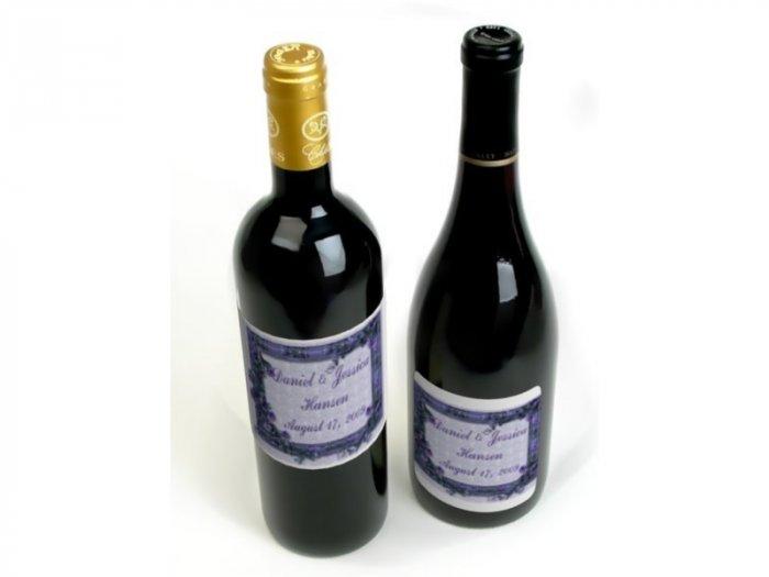 Wedding Wine Bottle labels Purple Flowers  Reception Party Favors 60 High Gloss Labels