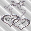 18 Wedding Wine Bottle labels Silver Hearts  Reception Party Favors High Gloss Labels