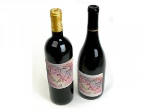 18 Wedding Wine Bottle labels  Hearts  Reception Party Favors High Gloss Labels