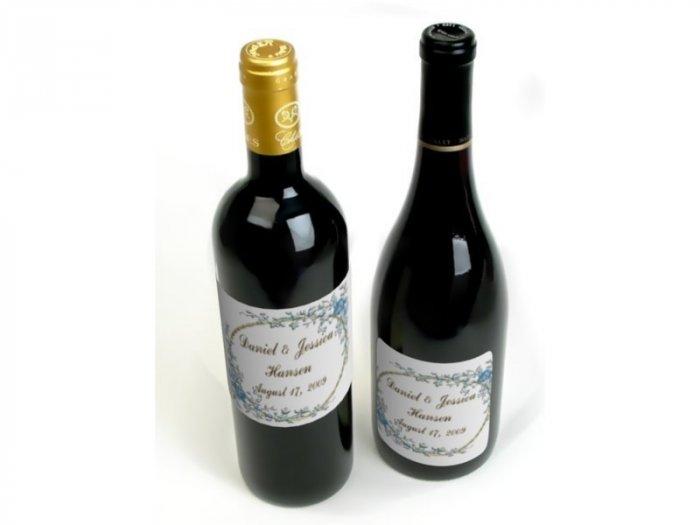 18 Wedding Wine Bottle labels Blue Flowers Reception Party Favors High Gloss Labels