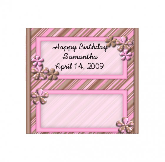 Candy Bar Box Favors PINK and BROWN FLOWERS frame Hershey bars PERSONALIZED Set of 6 Party Favors