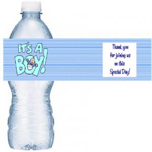 BLUE BABY WATER Bottle labels Baby Shower Party Favors 50 High Gloss Labels