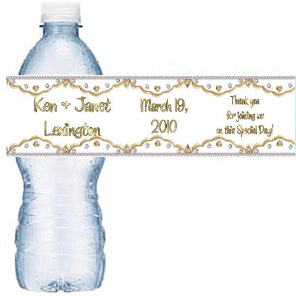 CUSTOM Gold Wedding or Anniversary Water Bottle labels Party Favors 50 High Gloss Labels