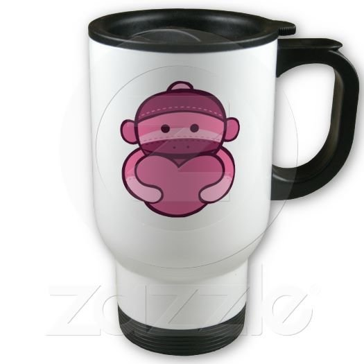 Pink Sock Monkey Love Travel Coffee Mug Cup Stainless Aluminum