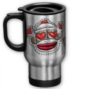 Love Sock Monkey Travel Coffee Mug Cup Stainless Aluminum