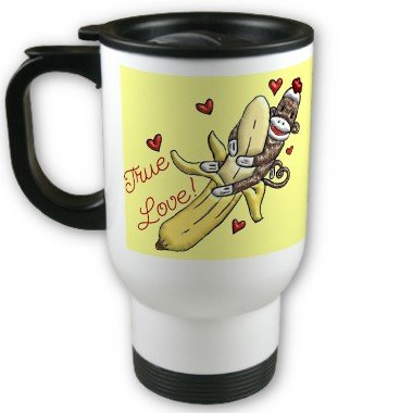 Sock Monkey Love Bananas Travel Coffee Mug Cup Stainless Aluminum
