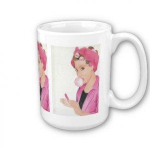 Pink Lady Retro Handpainted artwork printed Coffee Mug Cup