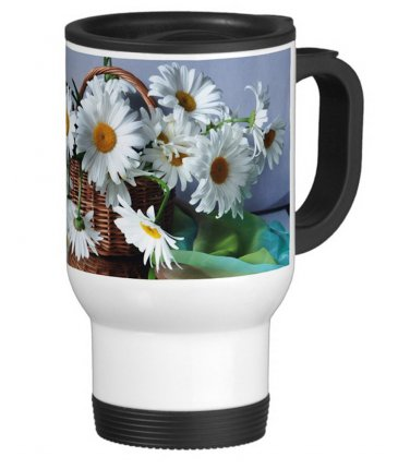 Flower Daisy Daisies Travel Coffee Mug Cup White Aluminum
