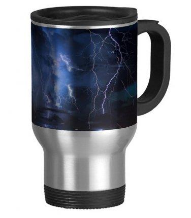 Storm Lightening Travel Coffee Mug Cup Stainless Aluminum