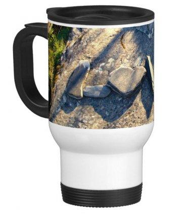Love in Rocks Travel Coffee Mug Cup White Aluminum