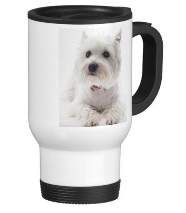Scottie Dog Pet Travel Coffee Mug Cup White Aluminum