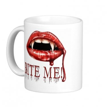 "Humorous Funny Saying Coffee Mug Cup ""Bite Me"""