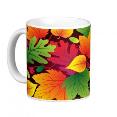 Colorful Fall Autumn Leaves Design Coffee Mug Cup