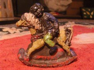 1800'S ANTIQUE BLACK AMERICANA LEAD ROCKING HORSE FOLK ART TOY - ALL ORIGINAL PAINT!!!