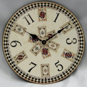 "12"" Round Playing Card Clock"