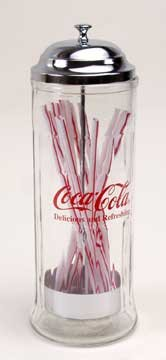 Coke Clear Glass Straw Dispenser