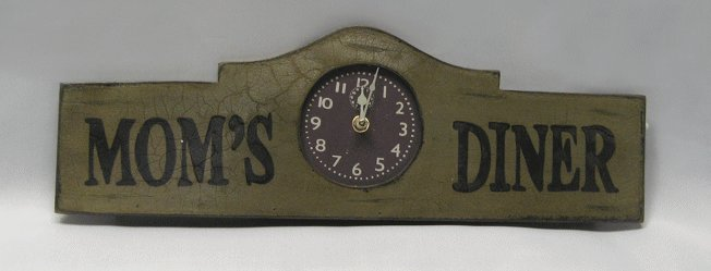 Mom's Diner Wooden Wall Clock