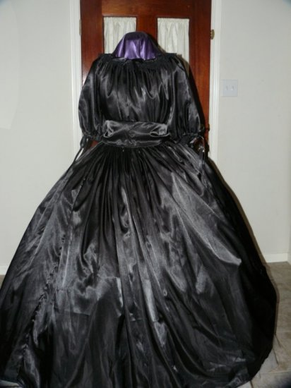 Civil War Ball Gown Reenacting Dickens Victorian Dress Mourning Black, Other Colors available