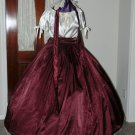 Civil War Ball Gown Reenacting Dickens Victorian Dress Burgundy and Ivory, Other Colors Available